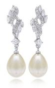 Cubic Zirconia Teardrop 12mm Simulated Pearl Bridal Earrings Rhodium Plated |Best Selling Earring