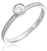 Sterling Silver Cubic Zirconia Bezel Ring