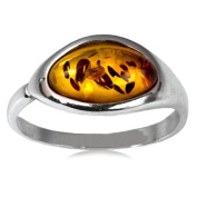 Baltic Dark Honey Amber Sterling Silver Oval Shaped Stone Classic Ring Size 8