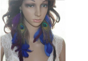 Long Feather Earrings for Women Peacock Blue Natural Feather Earrings