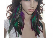 Natural Feather Earrings Green Purple Long Natural Feather Earrings