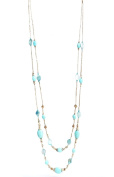 Elegent 2 Strands Layered Natural Turquoise Stone Glod Plated Butterfly Bead Long Necklace