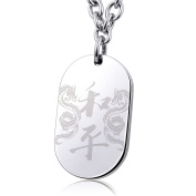 """Ashley Jeweller Stainless Steel Laser Engraved Chinese Dragon """"PEACE"""" Word Dog Tag Mens Pendant Necklace"""