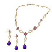 EVBEA Purple Colour Jewellery Set with Glass Cryatl and Resin For Bride