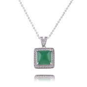 EVBEA Sterling Silver Green Red Square Jade Pendant Necklace Vintage Necklaces with Crystal CZ