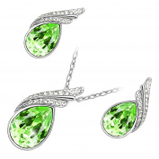 GWG Sterling Silver Plated Set of Pendant Necklace and Earrings Coloured Crystal with 2 Bands for Women
