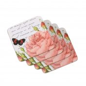 Ladelle International Postcard Hardboard Coasters, White, 4-Pack