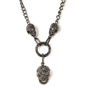 Women Multi Colour 3 Human Skeleton Pendants Necklace Made of Zinc Alloy and Glass Crystal for EVBEA brand