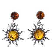 """Sterling Silver and Baltic Honey Amber Earrings """"Sun"""""""
