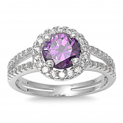 Embraced Round Simulated Amethyst Cubic Zirconia Ring Sterling Silver 925