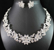Janefashions Floral Clear Austrian Rhinestone Crystal Necklace Earrings Set Wed Bridal N1770s