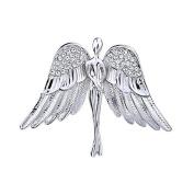 OKAJEWELRY Guardian Angel Rhinestone Silver Tone Brooch Pin