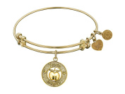 """Angelica Collection Non-antique Stipple Finish Brass """"apple; Teach, Inspire"""" Expandable Bangle"""