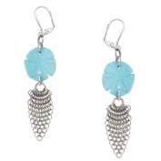 Sand Dollar Sea Glass and Mesh Earrings by Cape Cod Jewellery-CCJ