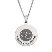 """A Sister Is A Friend For Life"" High Polished Stainless Steel Necklace, Sister Pendant, Sister Necklace"