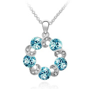 Sparkling Coloured Circles and Clear Crescents Charm Necklace
