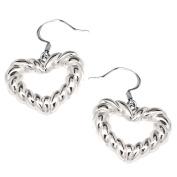Openwork Rope Heart Earrings SilverTone by Cape Cod Jewellery-CCJ