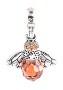 "Best Wing Jewellery .925 Sterling Silver ""Queen Bee /w Crystal"" Dangle Charm Bead"