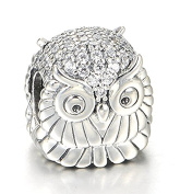 "Best Wing Jewellery .925 Sterling Silver ""Owl /w Crystal"" Charm Bead"