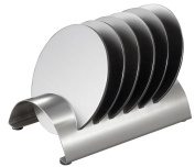 Visol Products Julian Stainless Steel Round Coaster Set with Holder, Chrome