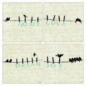 """Coasterstone AS10038 Absorbent Coasters, 11cm , """"Bird at Heart Collection"""", Set of 4"""