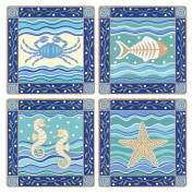 "CoasterStone AS9610 Absorbent Coasters, 11cm , ""Coastal Icons"", Set of 4"