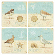 CoasterStone AS2560 Absorbent Coasters, 11cm , Natural Seashore, Set of 4
