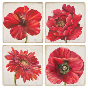 CoasterStone AS9977 Florals Absorbent Coasters, 11cm , Red, Set of 4