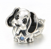 """Best Wing Jewellery .925 Sterling Silver """"Dog /w Blue Crystal"""" Charm Bead"""