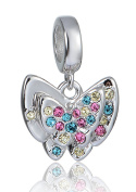 """Best Wing Jewellery .925 Sterling Silver """"Butterfly /w Colourful Crystals"""" Dangle Charm Bead"""