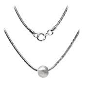 Ball Necklace 46cm Snake Chain SilverTone by Cape Cod Jewellery-CCJ