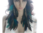 Natural Feather Earrings Blue Fashion Long Natural Feather Earrings