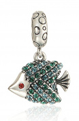"""Best Wing Jewellery .925 Sterling Silver """"Fish /w Crystal"""" Dangle Charm Bead"""