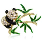 Akianna Gold Tone Element Panda Bamboo Brooch Pin