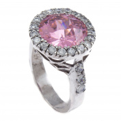 Pink CZ Stone Circle of Love CZ Bling Iced Ladies Ring RL189