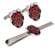 Fashion Jewellery ~ Star Wars Darth Maul Head Flaming Skulls Tie Bar and Cufflinks Set