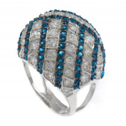 Stardust Bling Iced Blue & White CZ Stone Ladies Ring RL160