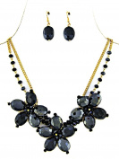 Dark Blue Flowers and Layered Beads Necklace and Earring Set
