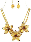Golden Flowers and Layered Beads Necklace and Earring Set