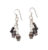 Dangling Iolite Earrings - French Hooks, Sterling Silver
