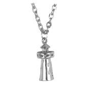 3D Lighthouse Necklace Pendant 46cm SilverTone by Cape Cod Jewellery-CCJ