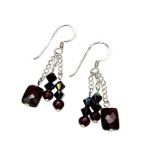 Dangling Faceted Garnet Earrings with Crystal - French Hooks, Sterling Silver