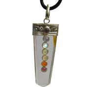 Clear Quartz Crystal Healing Feng Shui Seven Chakra Balancing Stones Pendant /w Gift Pouch