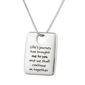 "High Polished Stainless Steel ""Life's Journey Has Brought Me To You…""Friendship Pendant Lovers Necklace"