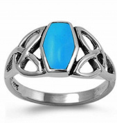 Celtic Square Simulated TURQUOISE Navajo Arizona Spirit Inspired - Sterling Silver Ring size 6-10