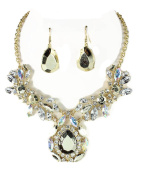 Fashion Jewellery ~ Clear Crystal Floral Teardrop Goldtone Necklace and Earrings Set