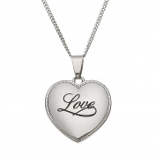 "High Polished Stainless Steel ""Love"" Heart Shaped Pendant Necklace"
