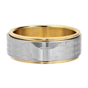316L Stainless Steel Spinning Ring With Gold Coloured PVD Framing A Cross In The Centre And Religious Writing All Around - Size
