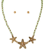 Gold Tone Starfish with Pearls and Green Beads Necklace with Matching Studs Rai-ns3613gr