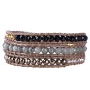 Black Onyx, Labradorite Stone, Dull Gold Pyrite and Metal Nugget Bead Leather Bracelet
